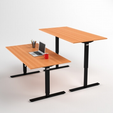 hoj-och-sankbart-skrivbord-svart-stativ-och-bok-skiva